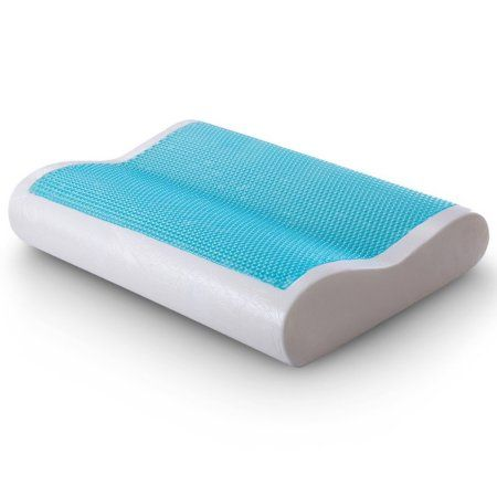 Cr Sleep Gel Memory Foam Contour Pillow for Sleeping Cool and Neck Support, Standard Size, 1-Pack, White