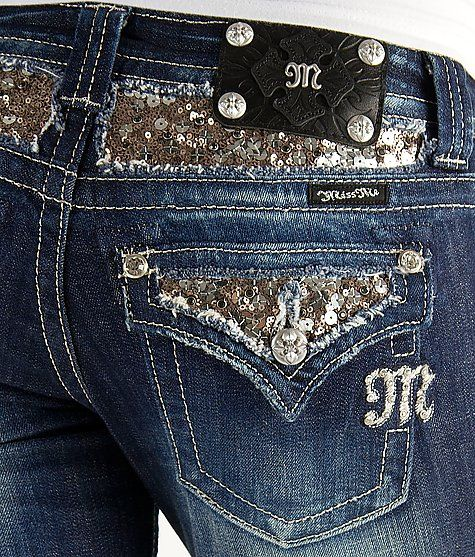 Miss Me Sequin Boot Stretch Jean