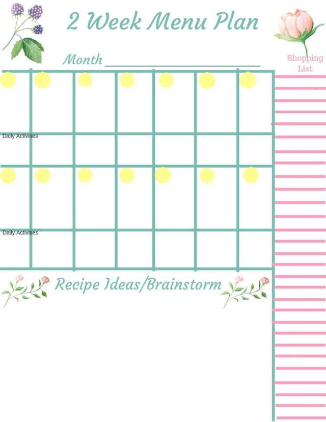 Menu Printable To Make Menu Planning A Breeze Menu Planning