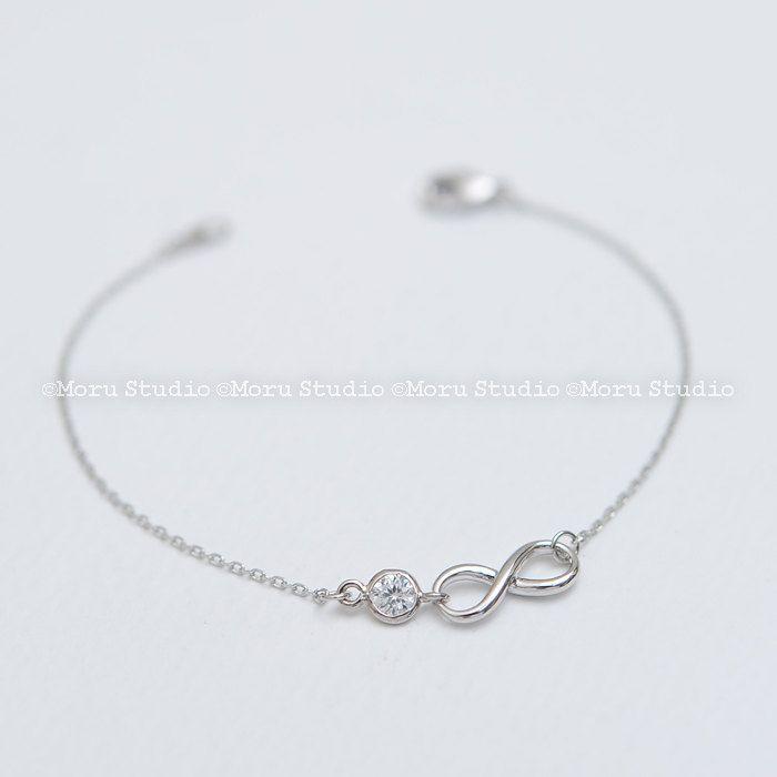 Silver Infinity Bracelet, Bridesmaids Gift, CZ Bracelet, Bridesmaid Bracelet, Bridesmaid Gift, Infinity Bracelet Friendship Bracelet BIF041 by MoruStudio on Etsy