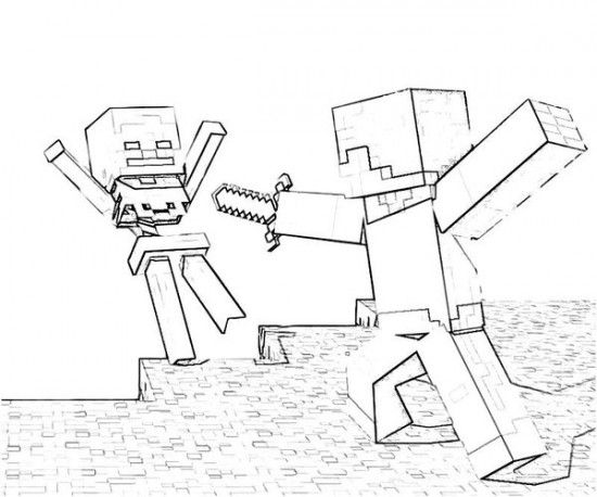 Minecraft Fight BWColoring Pages 550x458 Picture