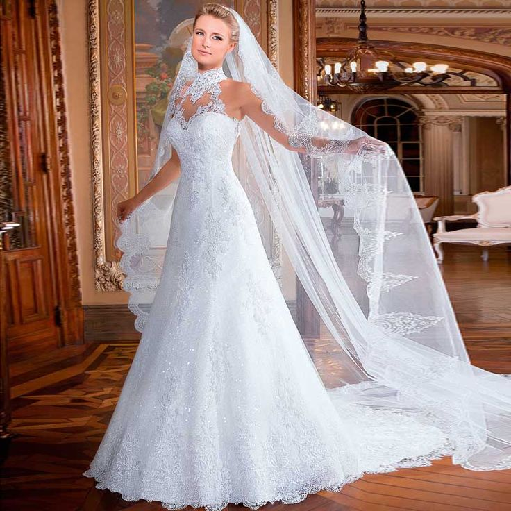 2015 Vestidos Novia долго вышитые из органзы линии свадебные платья майка без рукавов платье невесты спинки