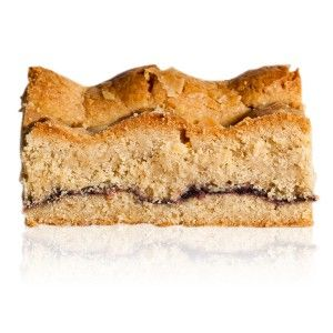Linzer Slice - A ground hazelnut and almond shortbread with cinnamon, layered with blackberry jam