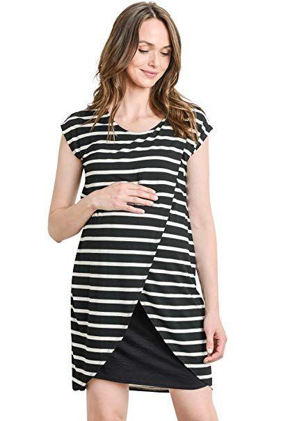 41b4c5de03b7f Hello MIZ Color Block Asymmetrical Breastfeeing Maternity Nursing Dress  (Small, Black Stripe/Black