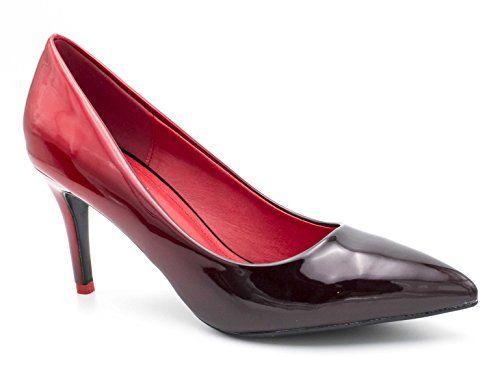 bec7dffff2cf Escarpin Femme Vernis - Chaussure Escarpin Dégradées Talon Fin - Talon  Moyen Sexy Hauteur 5CM Multicolore - Chic Tendance Noir Rouge(8cm) 37 EU