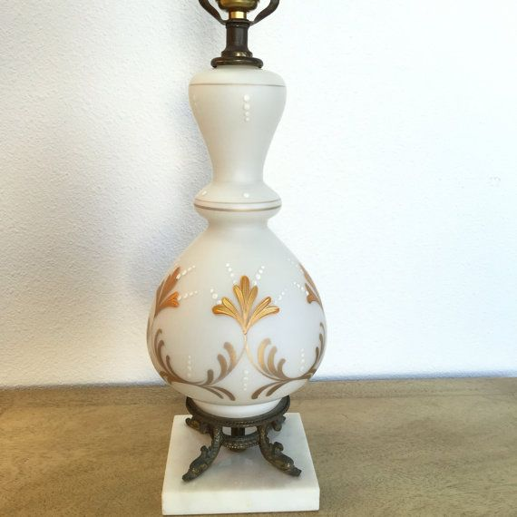 Blown Milk Glass Table Lamp Art Deco Vintage White And Gold Hollywood  Regencyu2026
