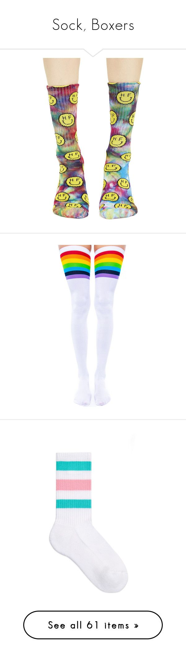 """Sock, Boxers"" by demonic-angel-baby ❤ liked on Polyvore featuring intimates, hosiery, socks, rainbow tie dye socks, rainbow socks, multi color socks, crew length socks, colorful socks, accessories and legs"
