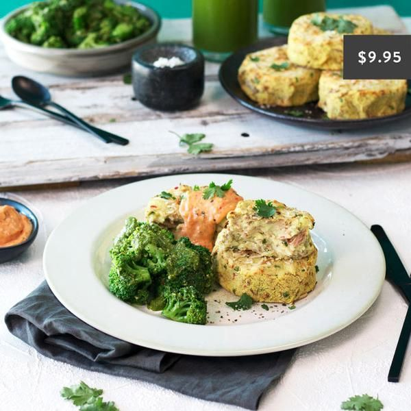 YouFoodz | Healthy Tuna Cake with Pesto Broccoli $9.95 | We've blended together tuna with fresh coriander, ginger, coconut, lemon, lime and soft fluffy potato then baked them to perfection | #Youfoodz #HomeDelivery #YoullNeverEatFrozenAgain
