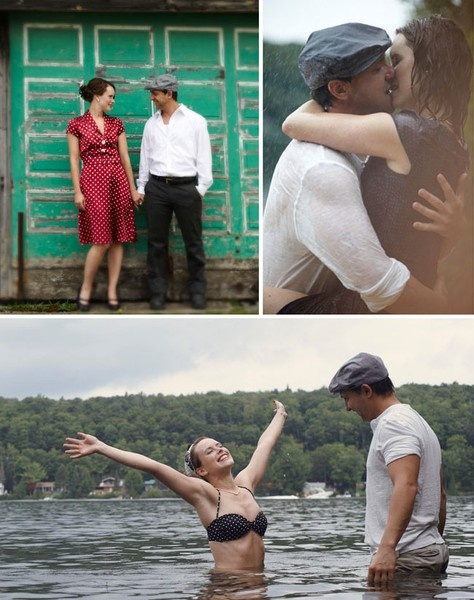 Great idea! They re-created The Notebook for their engagement pictures....Adorable.