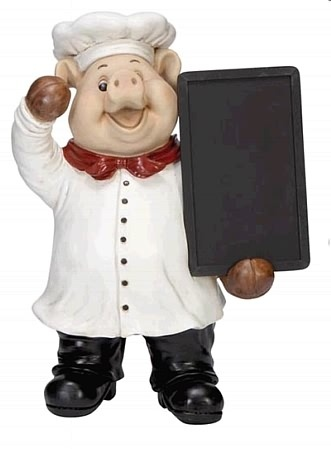 Baker Pig With Menu Board. Add A Piggy Personality To The Kitchen  Countertop .