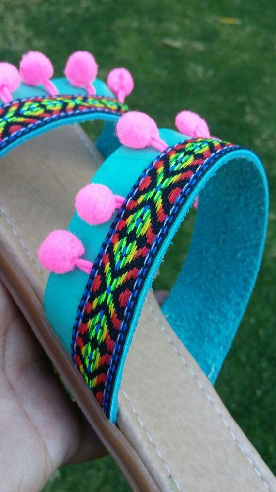 Mexicana sandalias zapatos mexicanos Huaraches US9 pompón