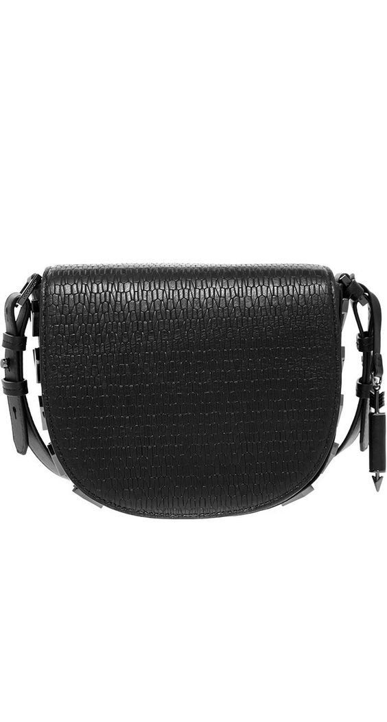 MACKAGE- RIMA-G PEBBLE LEATHER CROSSBODY SATCHEL WITH STUDS IN BLACK