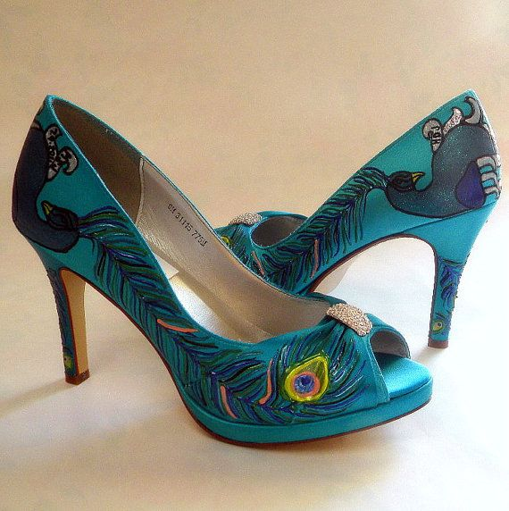 wedding shoes painted peacock turquoise peep toes i do feather bridal sexy high heels