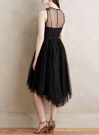 Women's Black Sleeveless High Low Cocktail Party Mesh Dress - OASAP.com