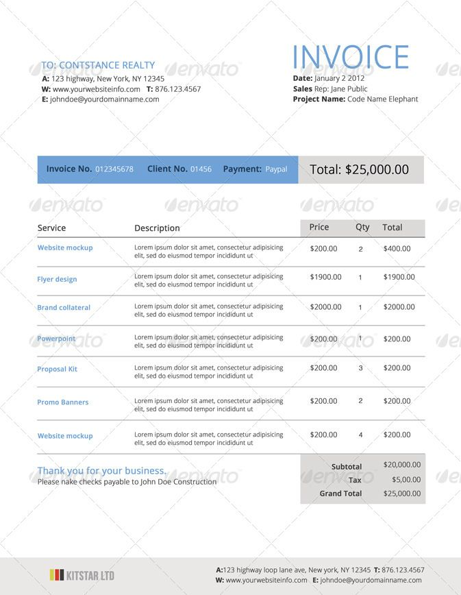 26 best invoices images on Pinterest Invoice template, Invoice - contractor invoice template