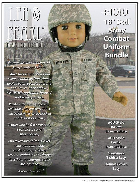 """L&P Pattern 1010: Army Combat Uniform Bundle  (for 18"""" dolls, American Girl dolls, custom boy dolls)"""