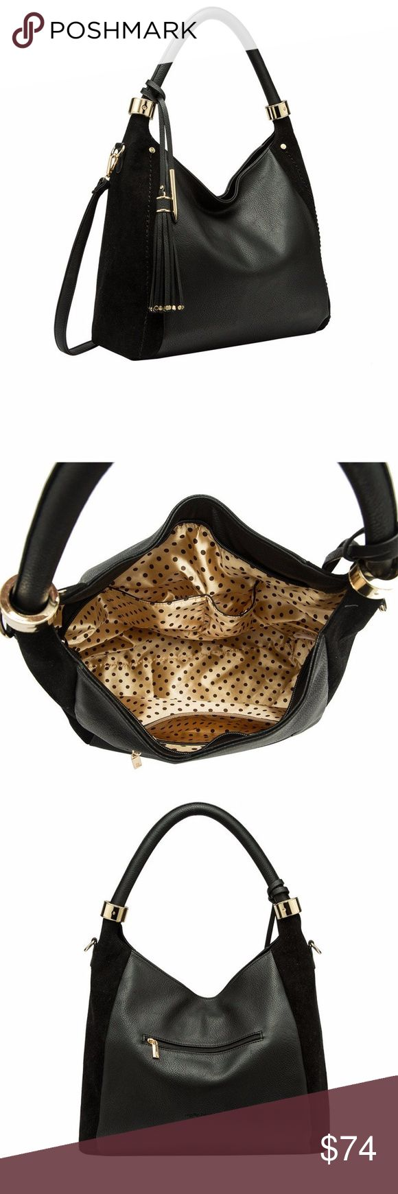 Melie Bianco Rumi Large Tassel Women's Hobo Bag Rumi Hobo features a flowing tassel attachment with gold tone studs. and dazzling gold hardware that highlights the sleek, minimalist structure of this bag.  Premium Vegan Leather Top Zipper Detachable Crossbody Strap Interior Slim Pockets Interior Zipper Pocket Dimensions 17.5'L x 6'W x 12'H Handle Drop 11' Color:  Black Used once; like new Melie Bianco Bags Hobos