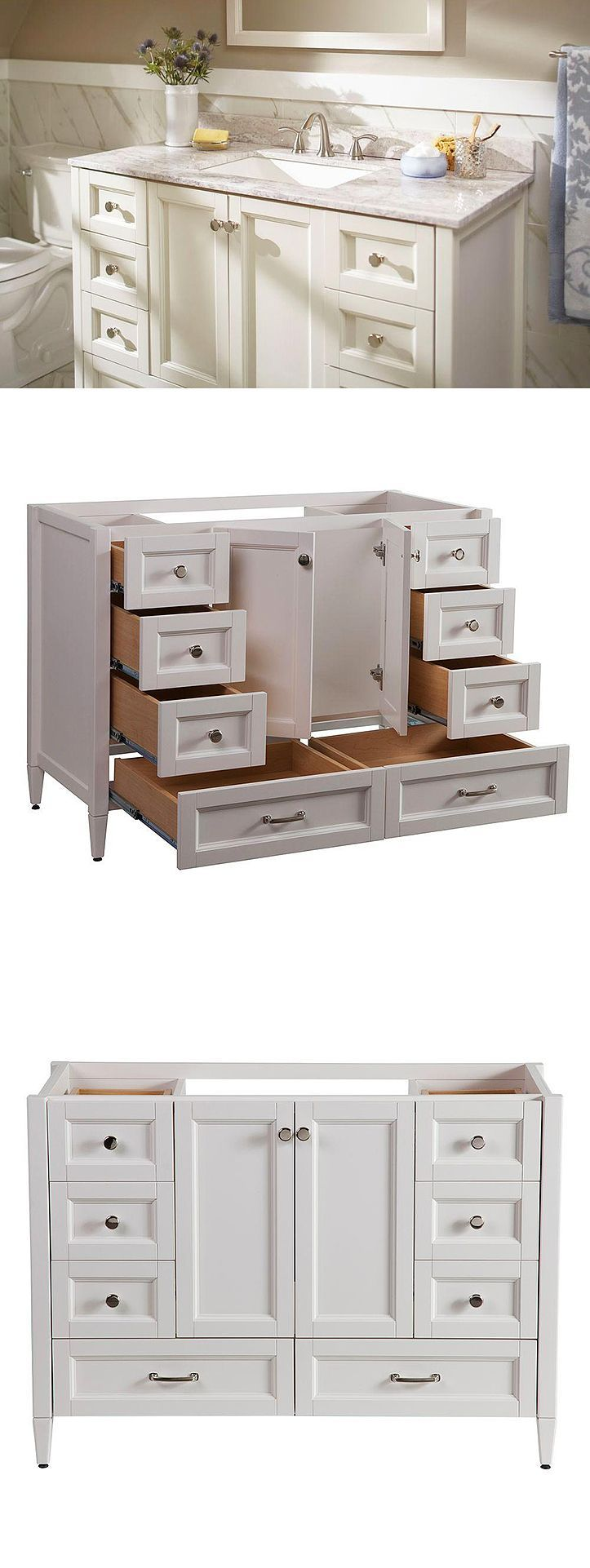Look at all the storage this bathroom vanity provides. The Claxby features six working drawers and two large bottom drawers that provide ample storage for all of your bath essentials. It's finished in a beautiful cream color and accented with chrome cabinet hardware for an elegant look. #bathroomvanities