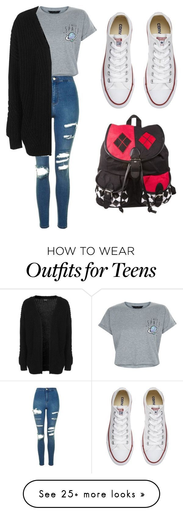 """School With A Cardigan"" by missnikki808 on Polyvore featuring New Look, Topshop…"