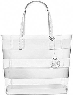 7fd8b5f8870b MICHAEL Michael Kors Eliza Striped Clear Medium Tote #Handbagsmichaelkors