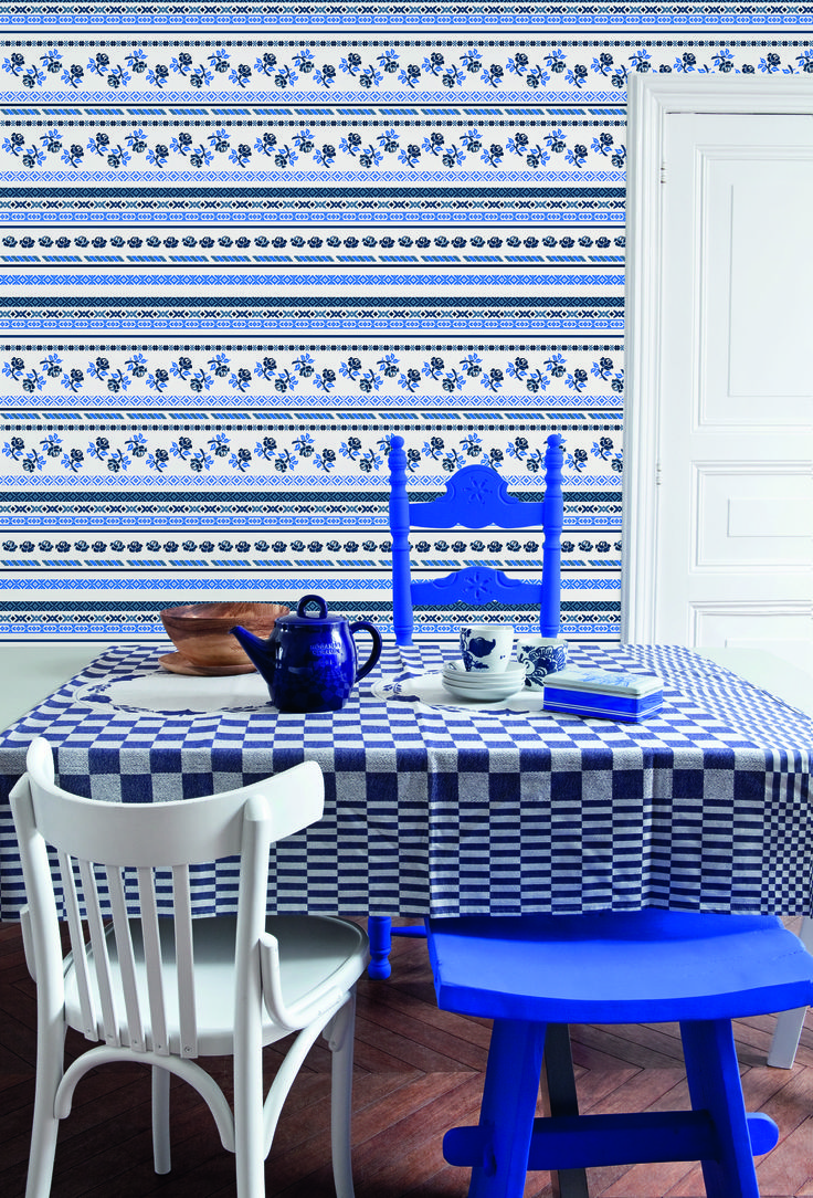 Blue Wallpaper / Blauw behang collection Bont - BN Wallcoverings