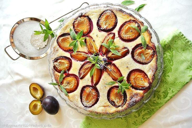 Zwetschken-Lavendel-Tarte mit Topfen und Zitronenverbene