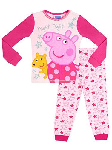"""Peppa Pig Girls' Peppa Pig Pajamas Size 3T. Bright and colourful Peppa pj's with the caption """"Night, Night"""" and sparkly star detail. Cute contrasting pajama bottoms with cuffed legs and a full, multi-print of Peppa Pig and stars. Perfect bedtime gift for any fan of the fabulous television series Peppa Pig. Offering a comfortable snug fit, these Peppa Pajamas will be a favourite for bedtime. Officially licensed Peppa Pig merchandise, exclusively designed for Character US."""