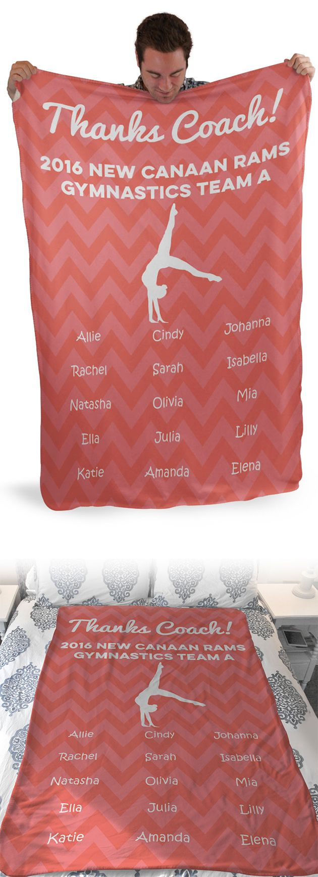 Thank you gymnastics coach for everything they've done for you this year by giving them a gift they'll love! Our Sherpa fleece blankets are super cozy and personalized, which makes them a great gift from the entire team!