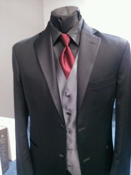 Charcoal Gray Tux Blue Tie | All Black Tuxedo With Red Tie Black tux, black shirt, red
