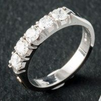 Half eternity diamond ring in 18k white gold