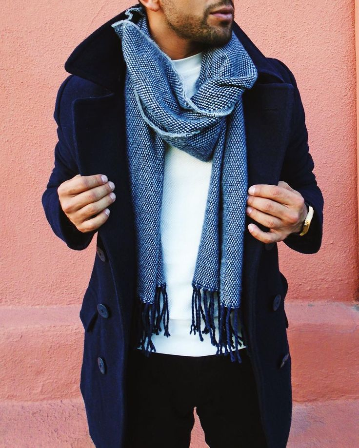 blues // menswear, mens style, fashion, peacoat, navy, blue, scarf, t-shirt, winter, holiday, #sponsored