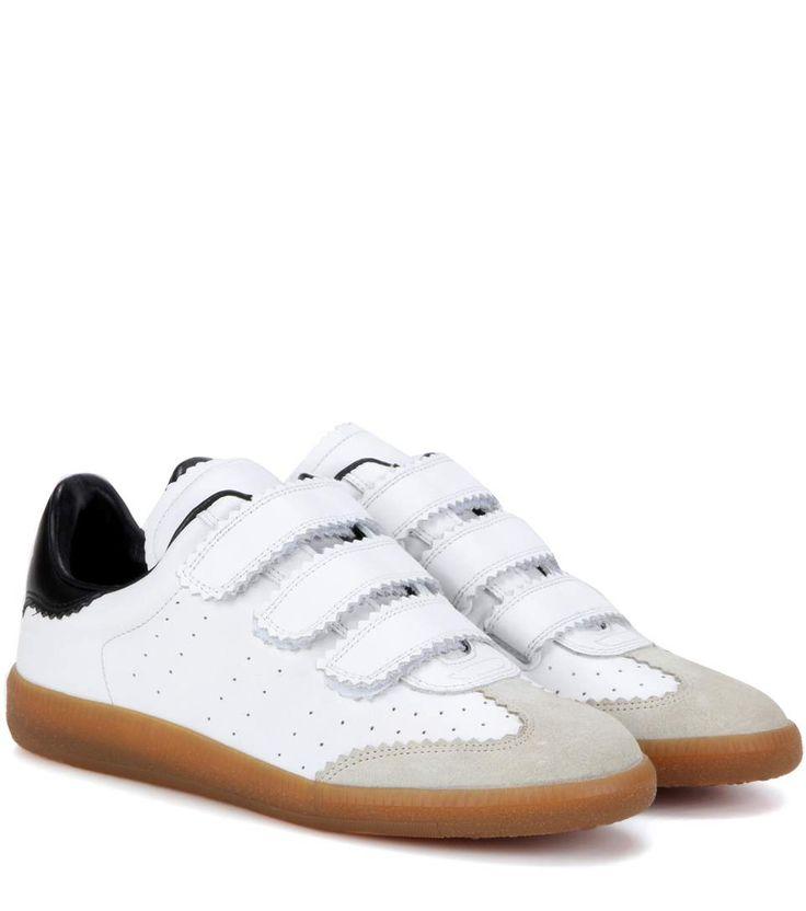 Baskets en cuir et daim blanches, ivoire et noires