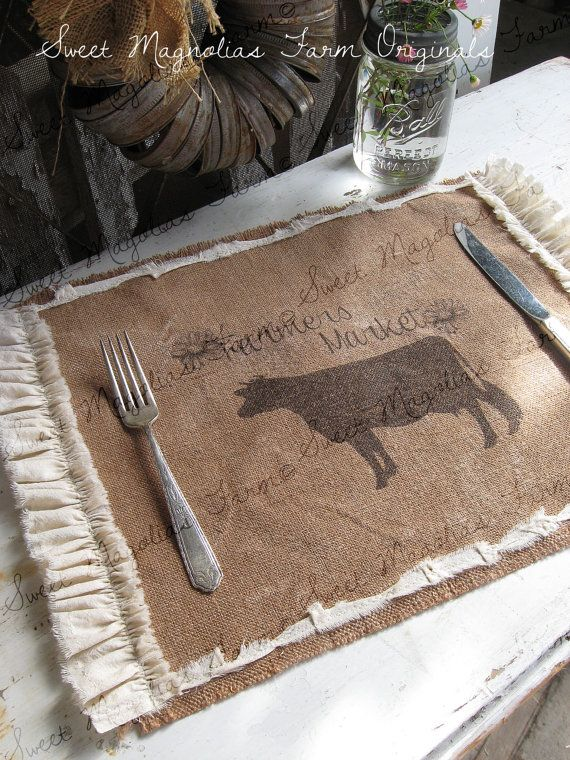 """Burlap Table Placemats - Cow - """"Farmer's Market"""" Kitchen Farmhouse Style Country Shabby Cottage Chic Ruffle Southern Saying"""