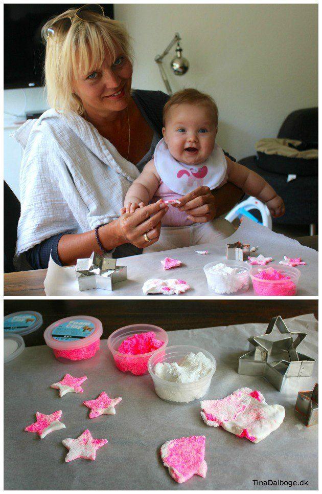 Pynt til barnedåb med stjerner i foam clay og silk clay - ide fra Tina Dalbøges kretive blog og ...