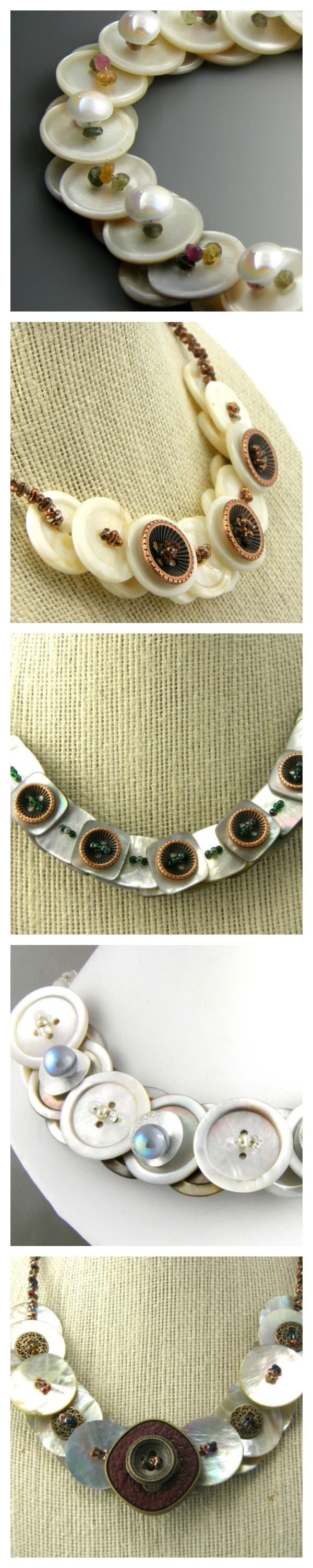 Amazing Button necklaces! Made from Mother of pearl buttons and shell buttons with a variety of gemstones and other beads. www.trinketsnwhatnots.etsy.com