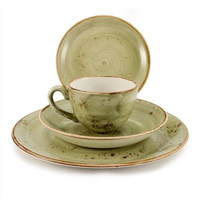 Moss Green Earthenware Dinnerware Sets for 8   bambeco