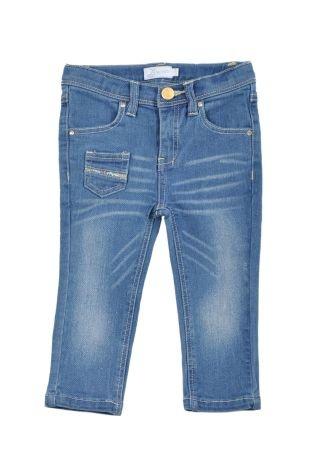 Pantalón tipo Jeans stretch para bebe niña, en color azul oscuro.