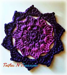 A beautiful mandala that works up VERY quickly! Although the model is made with a bulky yarn, it could easily be done in any yarn!