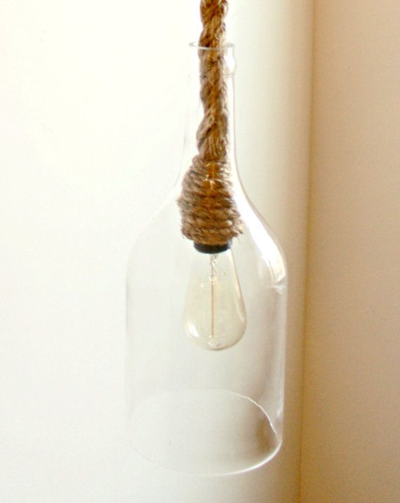 https://www.etsy.com/listing/254731544/rope-pendant-w-glass-bottle-rope-light?ref=shop_home_feat_4  1 Rope Pendant w/ Large Glass Wine Bottle Pendant Nautical lighting - Industrial Farmhouse Pendent Lighting - Swag Lights - Chandeliers - Hanging light Rope Pendant w/ Glass Bottle - Rope Light with ex large Wine bottle glass for pendent lighting, Nautical rope light, Jute rope, Hanging light