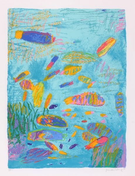 Fish in the Sea - Ken Done Screenprint on paper 64 x 48cm 1989