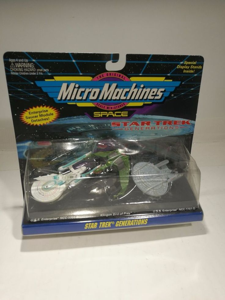Star Trek Generations Micro Machines  3 ships with display stands Sealed 1994 #Playmates