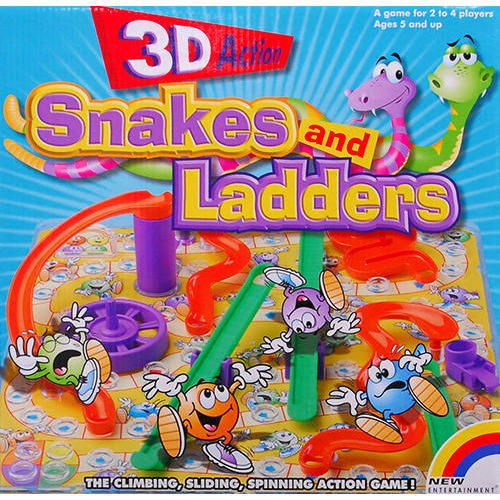 Snakes and Ladders 3D Game: An action game of climbing, sliding and spinning, Snakes and Ladders 3D comes with plastic ladders, snake-shaped slides and a spinning merry-go-round that will bring the kids action-packed entertainment.  $19.99  http://calendars.com/Family-Games/Snakes-and-Ladders-3D-Game/prod201100012204/?categoryId=cat660012=cat660012#