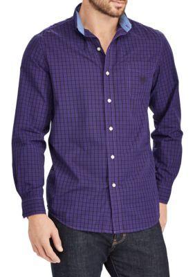 Chaps Men's Long Sleeve Woven Plaid Shirt - Riding Purple - 3Xlt