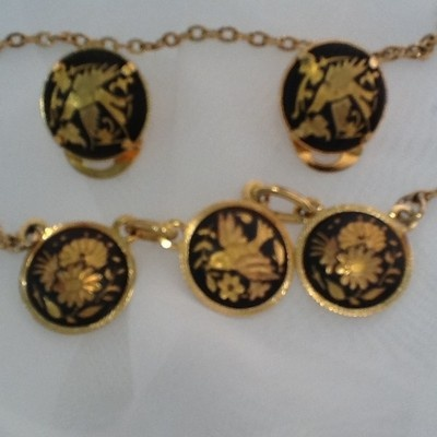 "Retro Damascene style Bird Flower 16"" Necklace & Clip on Earrings set   Click to See more photos in my eBay store."