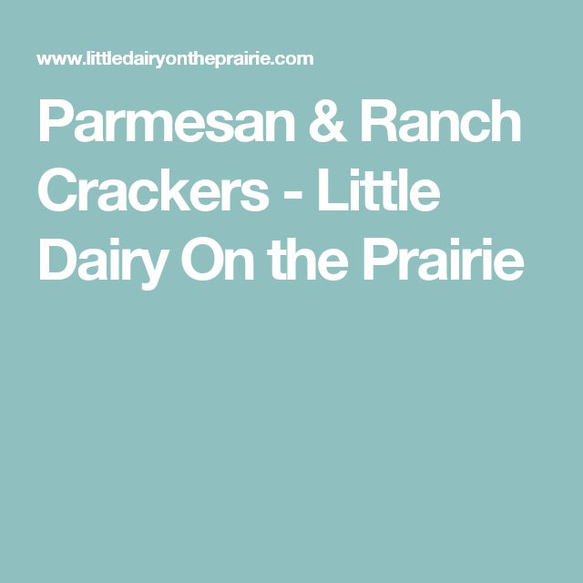 Parmesan & Ranch Crackers - Little Dairy On the Prairie