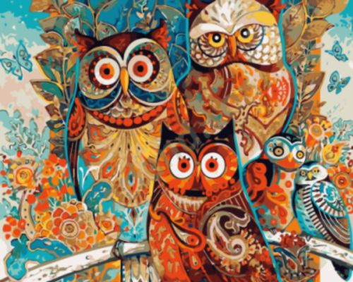 Self-Paint-Oil-Painting-By-Numbers-Kit-Owl-Family-40CMx50CM-Canvas