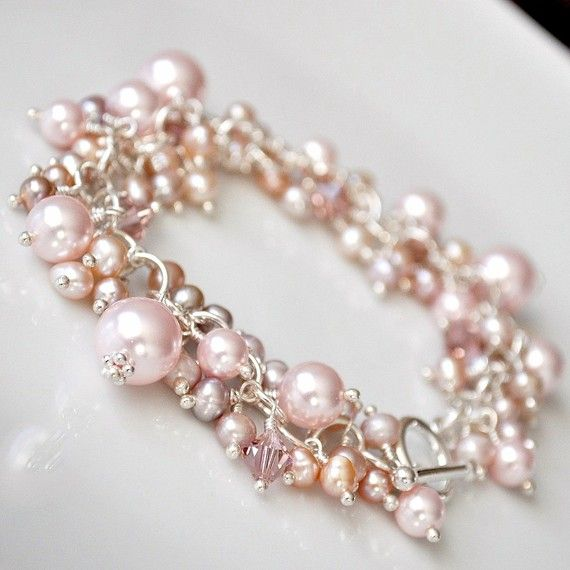Pink Freshwater Pearl Cluster Bracelet Chunky by somethingjeweled... do they make it in a necklace??