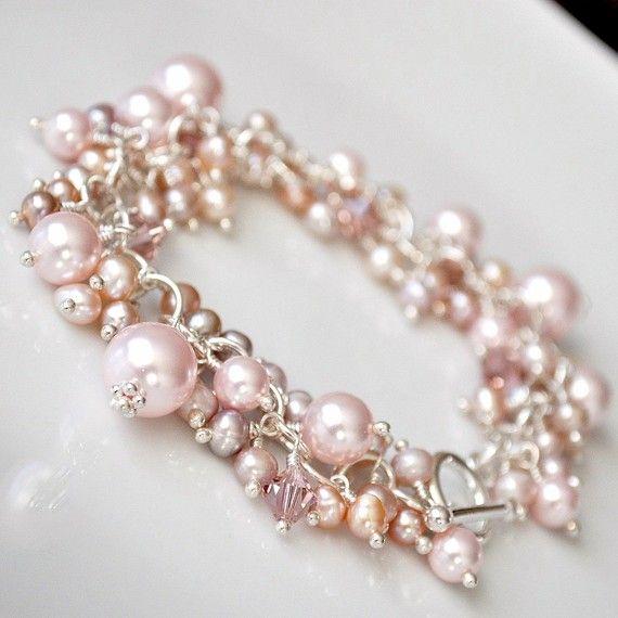 Bracelet de perles rose. Bracelet de perles par somethingjeweled