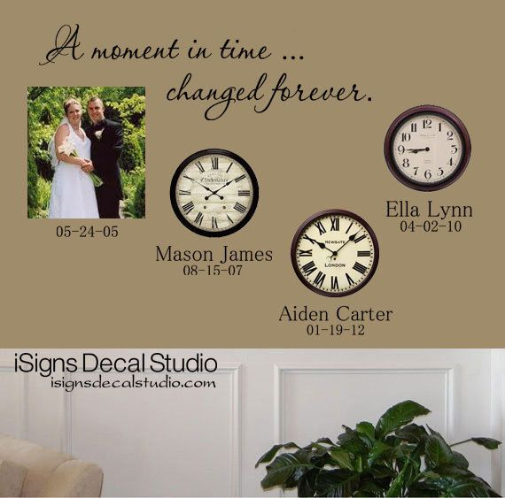 Familie muur Decal A Moment In Time van iSignsDecalStudio op Etsy