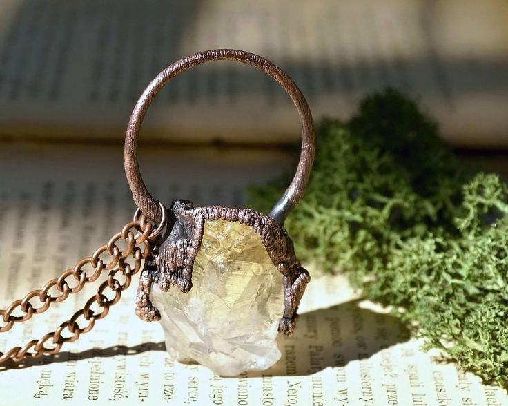 electroformed, citrine necklace, statement  necklace, natural stone, raw…